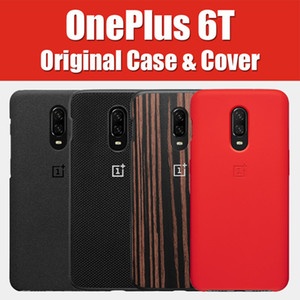 Vente en gros 6T cas original 100% Oneplus officiel housse de protection silicone Nylon Karbon pare-chocs cuir Flip cover one plus 6
