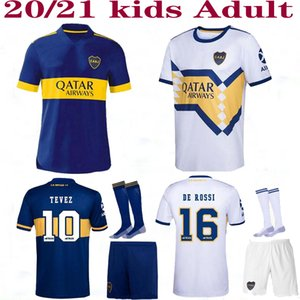 Camiseta Boca Juniors camiseta de fútbol 20 21 DE ROSSI TEVEZ MARADONA MAURO ABILA 2020 2021 SALVIO otro lado en blanco camiseta de fútbol kit del sistema de Hombres Niños