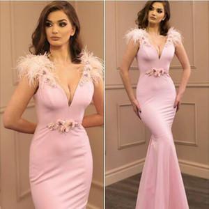 Sexy Mermaid Blus Pink Prom Dresses Long On Line 2020 Abiti da sera scollo a V Abiti formali con piume