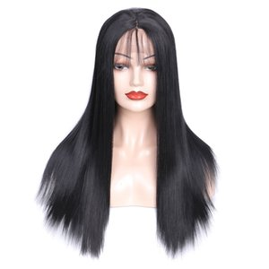 Long Straight Lace Front Wigs With Bangs Brazilian Straight  Loose Synthetic Hair Lace Wigs Pre Plucked With Baby Hair
