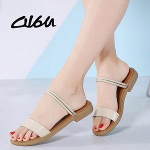 O16U Summer women sandals black flat Slides women rubber Sandalias ladies flat low heel gladiator sandals Leather Flip flop