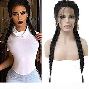 ZhiFan braided lace front wigs 26inch braided wigs for black women for sale braiding hair wig