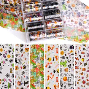 3D Nail Stickers Transfer Paper Halloween Slider Designs Skull Pumpkin Flora Star Moon Magic Midnight Ghost Decoration Tattoo F664