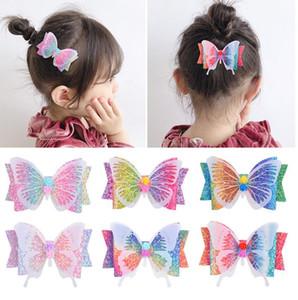 Forcine clip 3.5inch Glitter Bow farfalla capelli per le ragazze Headwear sfumatura arcobaleno Colore dei capelli Pins accessori Headwear Beach Party D6408