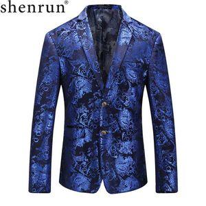 Shenrun 남성 블레이져 패션 인과 재킷 가을 겨울 블루 세련된 패턴의 벨벳 정장 자켓 파티 댄스 파티 의상 웨딩