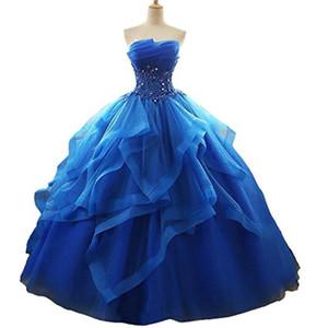 Più nuovo dolce 16 abito da ballo rosa abiti Quinceanera 2019 crystal organza perline promodo pageant debutante formale sera ball party gown al69