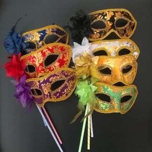 Face 7 Colors Handheld Venetian Half Flower Masquerade Halloween Christmas Dance Wedding Party Mask Supplies