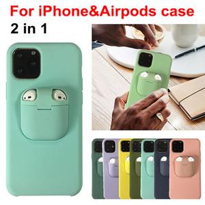 2in1 Airpods Abdeckung Flüssig-Silikon-Hülle für iPhone 11 Pro XS Max Soft-Kopfhörer-Kasten für Airpod