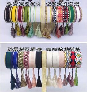 Marca de moda para las mujeres Algodón Carta señal de tela logotipo de la firma de la borla de la pulsera tejida brazalete con cordones del bordado de pulsera