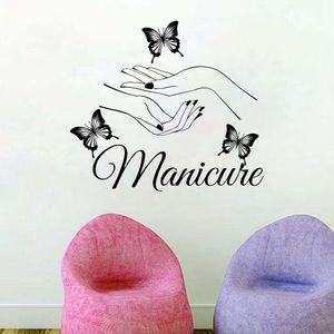 Beauty Nail Salon Vinyl Kunst Maniküre Wandtattoos Schmetterling Hände Nail Shop Wand Fenster Kunst Dekoration Maßgeschneiderte Wandaufkleber