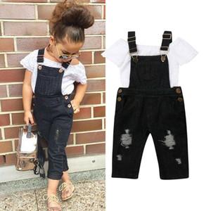 Cordón del hombro de verano para niños de la niña Trajes de juego de ropa Off Tops Jeans pantalones del babero Equipos