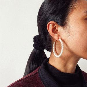 New Boho Vintage Geometric Drop Earrings For Women Artificial Pearl Simple And Elegant Pendant Earring Set Female Jewelry Gift