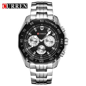 CURREN 8077 Venta caliente para hombre de los relojes de cuarzo analógico clásico de visita de moda de acero inoxidable reloj de los hombres del OEM