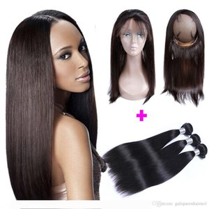 9A Pre Plucked Brazilian Straight Hair Weaves With 360 Lace Band Frontal Virgin Human Hair With Bady Hair 4pcs lot