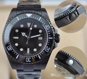 2019 heißer verkauf PVD Schwarz Herrenuhr Armbanduhr Keramik Lünette Saphirglas Edelstahl Qualität Seadweller Wasserdicht