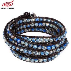 A Handmade Multilayer Wrap Bracelet For Women Men Mixed Leather Sea Sediment Jaspers Turquoises Natural Stone Bead Strand Bracelet