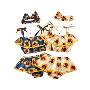 Pudcoco Verão Boho crianças bebés macacãozinho girassol Alças Ruffle Tops + Calças Curtas + Headwear 3pcs Roupa recém-nascido 3-24M