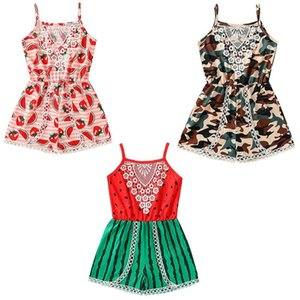 kids clothes girls Camouflage watermelon print Romper infant Toddler Sling lace Jumpsuit 2020 Summer Newborn baby Climbing Clothes
