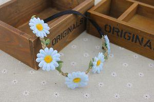 Garlands Beach Bohemian Decorative Sunflower Hair Headbands Bride Wedding Hair Band Bridal Wreath Flowers Rattan Headwear 113CW