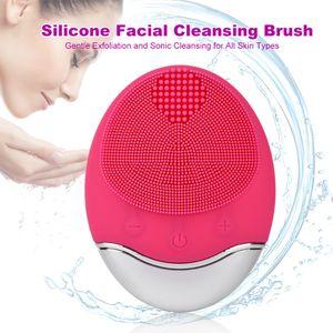 فرشاة تنظيف الوجه السيليكون مع تقشير لطيف سونيك التطهير الكهربائية وسادة الوجه ماء تطهير الجلد
