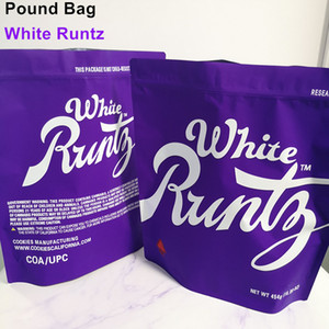 Newest Cookies 1 Pound Bag 16OZ White Runtz SMELL PROOF Packaging Bag Cookies Pound Package 420 Dry Herb Flowers