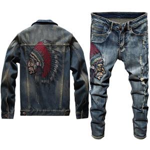 2020 Yeni Erkek Jeans İki Adet Set İnce İşlemeli Hint Uzun Kollu Kot Ceket + Stretch Pantolon Punk Tarzı High Street Ceket Twinsets