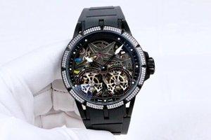 2019 новый роскошный Excalibur 46 двойной турбийон Серебряный стальной корпус Rddbex0481 скелет циферблат Miyota автоматические мужские часы резиновый ремешок новые часы