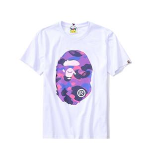 T-shirt à manches courtes tête de singe style hip-hop hommes populaires logo amateurs T-shirt de couleur unie à manches demi-chemise en coton original street