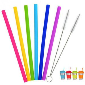 Silicone Pailles à Boire 25cm réutilisable flexible avec Straws Bar Brosses Party Straws Sets 8pcs / set OOA8030