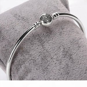 Corazón en forma de diamante de la CZ del corchete pulsera brazalete de caja fija original para Pandora 925 Sterling Silver Charm Pulseras mujeres novia