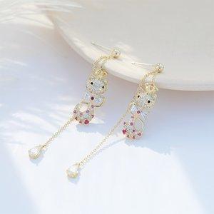 Korea Trendy Fox Boucles d'oreilles Drop Femme animal mignon eau boucle d'oreille Shinning Cristal 925 Bijoux en argent