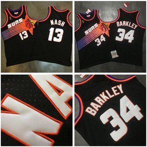 hombres PhoenixSoles13 Steve Nash Charles Barkley 34 Mitchell Ness Negro 1992-93 1996-97 maderas duras Clásicos alero Jersey 01