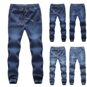 Uomo Autunno Inverno jogging moda di New Casual Autunno denim di cotone elasticizzato con coulisse di lavoro Pantaloni Jeans Pants