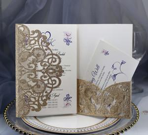 Convite do casamento cartões de ouro em pó recorte do casamento do vintage gravado tri-fold com fita da curva Laser Cut bolso do convite do casamento Kit