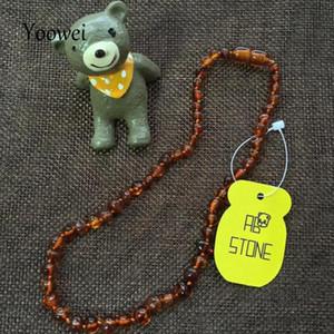 Yoowei atacado âmbar original colar para crianças adulto natural contas de âmbar bebê colar de dentição báltico âmbar jóias 10 cor j190611