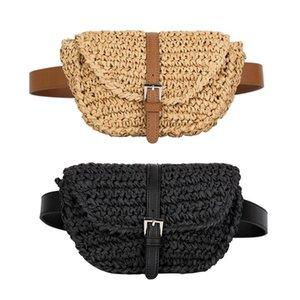 Women Fashion New Semicircle Waist Lady Straw Summer Beach Chest Pack Belt Bags Waist Fanny Bag Erxnc