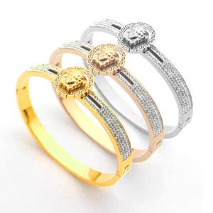 Hot bracciale in titanio placcato stile V-lettera marchio ID ovale catenaccio Bracciale per le donne braccialetto amore Pulseira