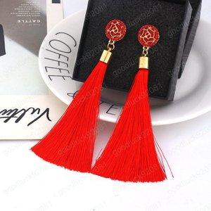 9 Farben Boho Ethnische Troddel baumeln Ohrringe für Frauen Geometrische Crystal Rose Blume Zeichen lange Silk Gesäumten baumeln Statement Ohrring