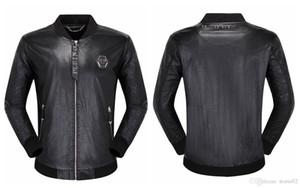 2020SS Top-Qualität Phillip Plain-Marken-Männer PU-Leder-Jacken-Mantel-Schädel-Kopf-Oberbekleidung Winter dünne Für Mann Zipper Designer