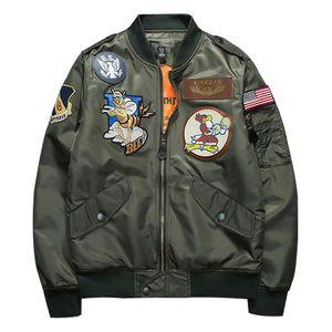 Marca Ejército Ma1 verde militar Ma -1 chaqueta de vuelo del piloto de la Fuerza Aérea de los hombres chaqueta de cuello stand Bombardero tamaño impreso de manera masculino M-3XL
