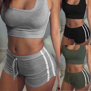 Womens Tracksuits Women S Two Piece Jogging Suits Women 2Pcs Summer Set Sleeveless Crop Top Shorts Set Women Casual Clothes Set Suit