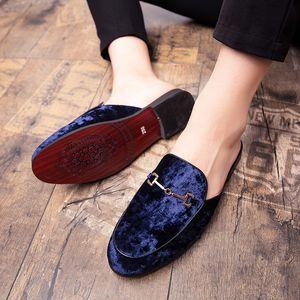 Zapatillas de vestíbulo abiertas de cuero de gamuza abiertas de espalda de gamuza en los mocasines de terciopelo sin espalda Persona perezosa Media zapato para hombres Tamaño 6 ~ 13