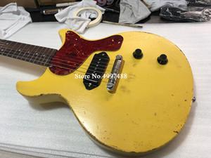 1959 Júnior DC TV Amarelo Creme Relic Guitarra Elétrica, Preto P90 Cão Orelha Singlecoil Pickup, Red Turtle Shell Pickguard, Enrole Em torno do Tailpiece