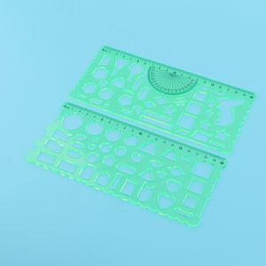 Di colore verde Completa Forma di misurazione di plastica Modelli righelli geometriche disegno Righelli