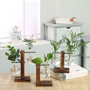 Hydroponic Plant Vases Vintage Flower Pot Transparent Vase Wooden Frame Glass Tabletop Plants Home Terrarium Bonsai Decor