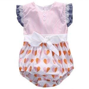 Toddler Infant Newborn Baby Girls Cute Bodysuit Jumpsuit Lace Sunsuit Outfits Heart Printed Casual Clothes