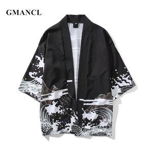 Gmancl yeni erkekler streetwear ejderha baskılı japon tarzı hırka kimono ceketler sonbahar moda hip hop erkek rahat giyim