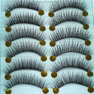 10 Pairs Black Thick Long False Eyelashes 3D Faux Mink Hair False Eyelashes Handmade Lashes Extensions Cross Cilios Maquiagem