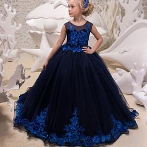 Robe sans manches bleu robe de demoiselle Princesse dentelle de demoiselle d'honneur Pageant pour les robes de mariage de Noël et spectacle historique fête Glitz pour les filles