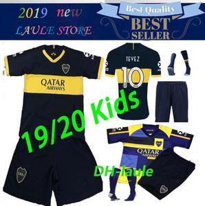 2019 2020 Boca Juniors Главная расстояние детей Комплект трикотажных изделий футбола Униформа для мужчин тайский качества футбол Джерси Away GAGO Тевес Футбольные шорты + носки